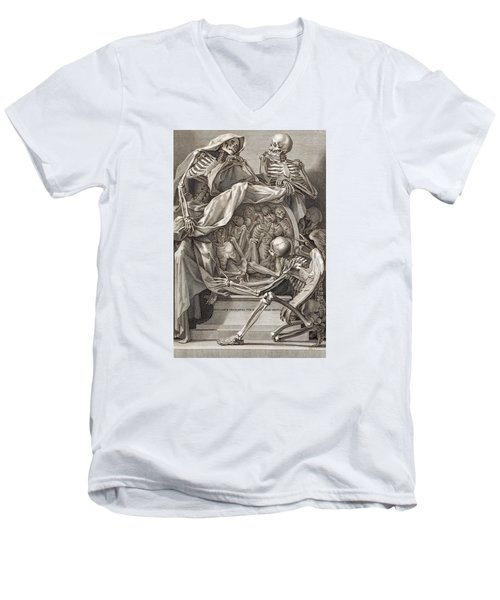 Bernardino Genga - Allegorical Emblems Of Death Men's V-Neck T-Shirt