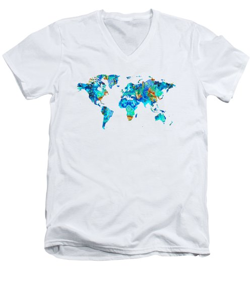 Men's V-Neck T-Shirt featuring the painting World Map 22 Art By Sharon Cummings by Sharon Cummings