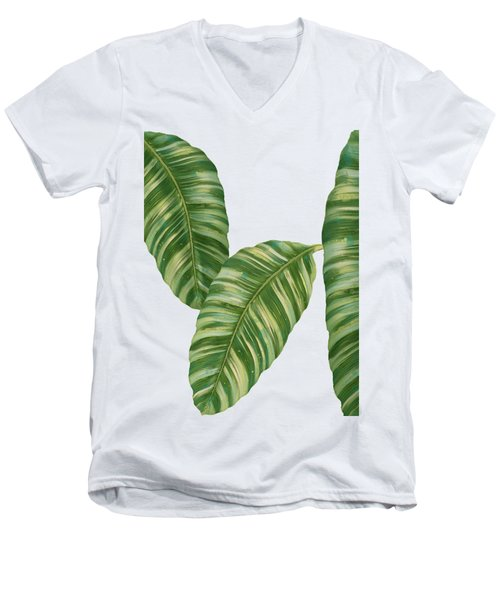 Rainforest Resort - Tropical Banana Leaf  Men's V-Neck T-Shirt by Audrey Jeanne Roberts