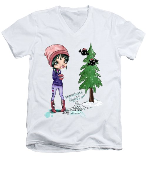 Men's V-Neck T-Shirt featuring the painting Snowball Fight by Lizzy Love