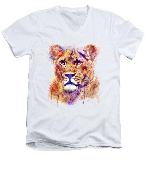 Lioness Head Men's V-Neck T-Shirt by Marian Voicu