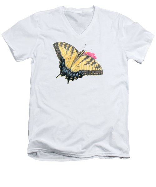 Swallowtail Butterfly And Zinnia- Transparent Backgroud Men's V-Neck T-Shirt