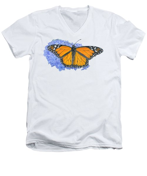 Monarch Butterfly And Hydrangea- Transparent Background Men's V-Neck T-Shirt by Sarah Batalka