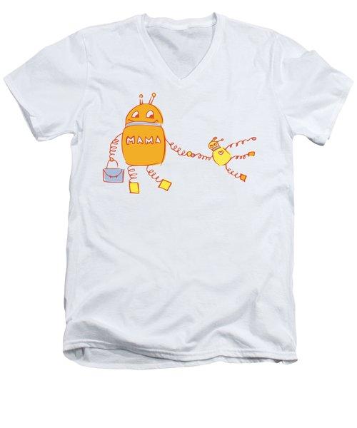 Robomama Men's V-Neck T-Shirt