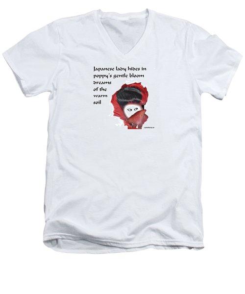 Poppy Lady Men's V-Neck T-Shirt by Graham Harrop