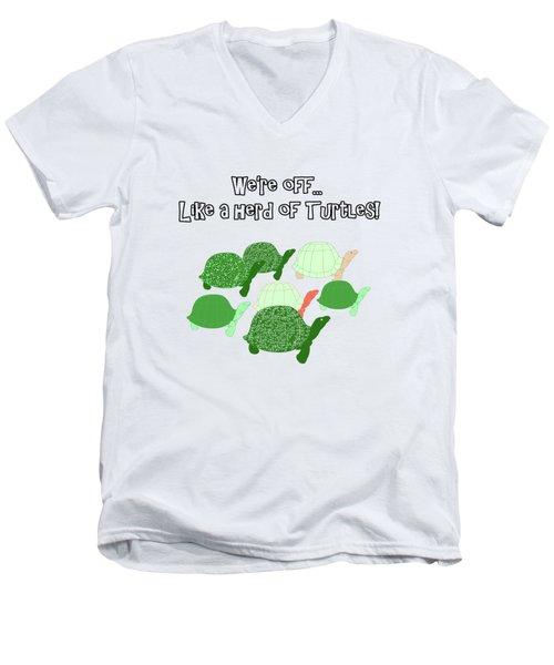 Herd Of Turtles Pattern Men's V-Neck T-Shirt
