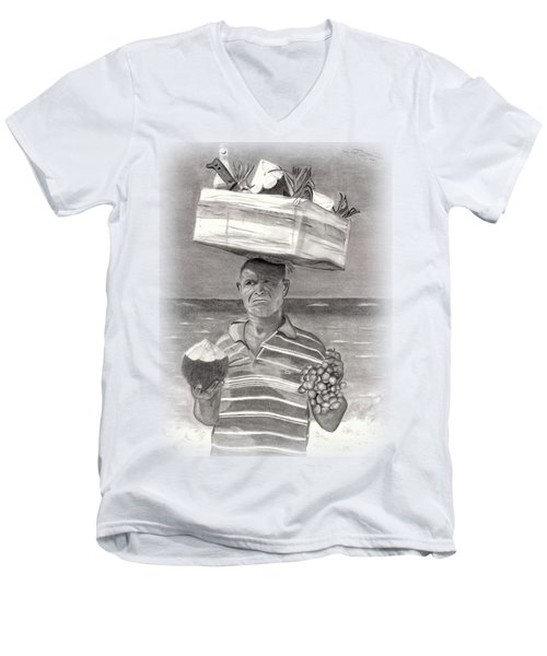 Island Street Vendor Men's V-Neck T-Shirt by Tom Podsednik