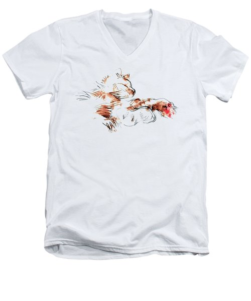 Men's V-Neck T-Shirt featuring the mixed media Merph Chillin' - Pet Portrait by Carolyn Weltman
