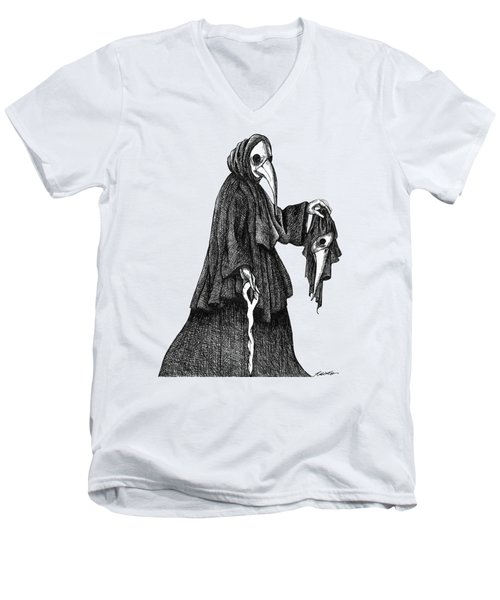 Plague Doctor Men's V-Neck T-Shirt by Akiko Okabe
