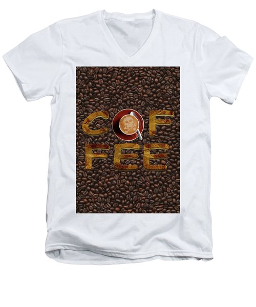 Men's V-Neck T-Shirt featuring the painting Coffee Funny Typography by Georgeta Blanaru