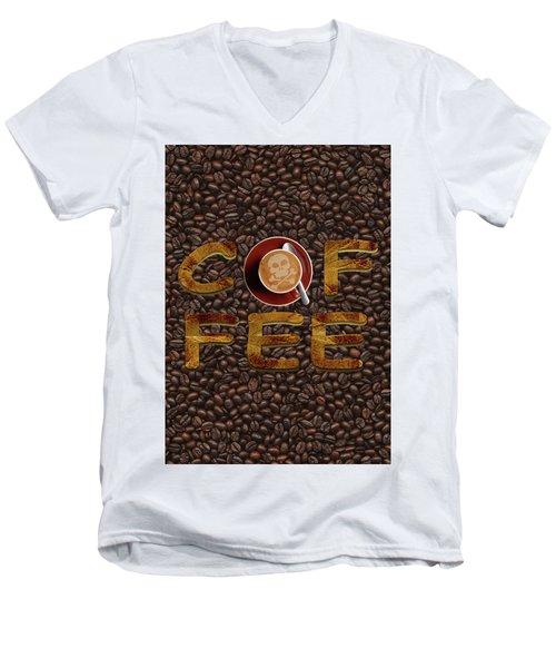 Coffee Funny Typography Men's V-Neck T-Shirt