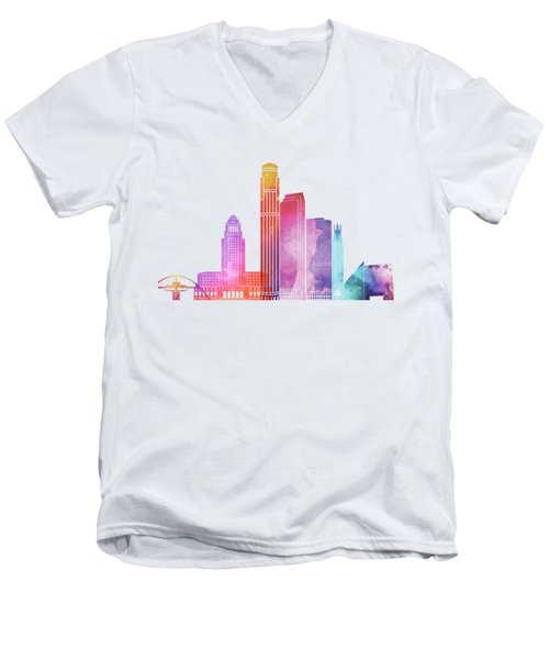 Los Angeles Landmarks Watercolor Poster Men's V-Neck T-Shirt