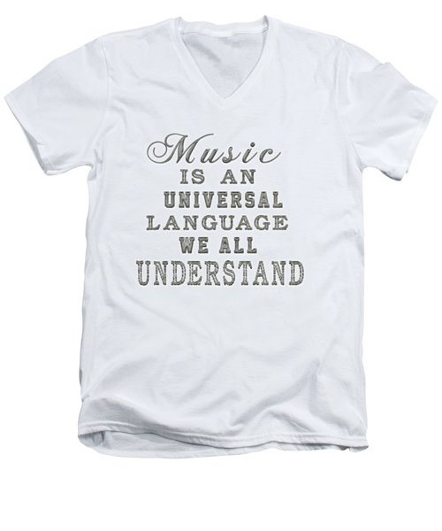 Music Is An Universal Language Typography Men's V-Neck T-Shirt by Georgeta Blanaru
