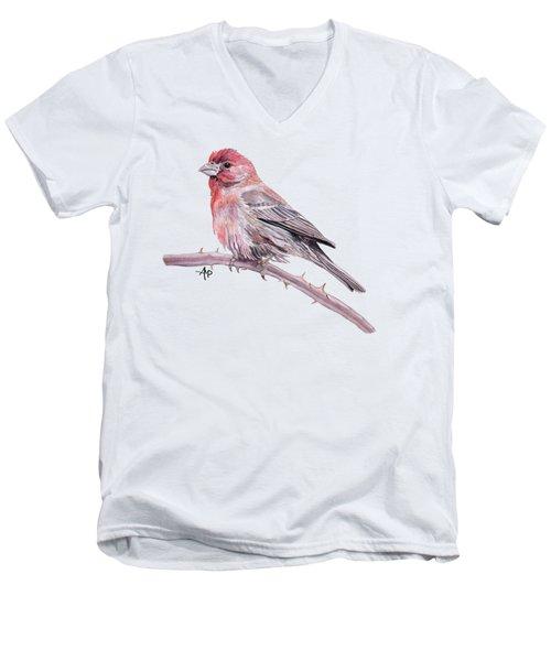 House Finch Watercolor Men's V-Neck T-Shirt