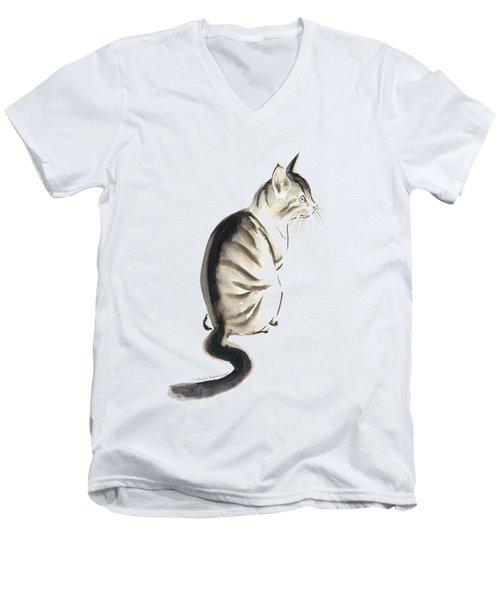 Cat Art 2 Men's V-Neck T-Shirt by Melly Terpening