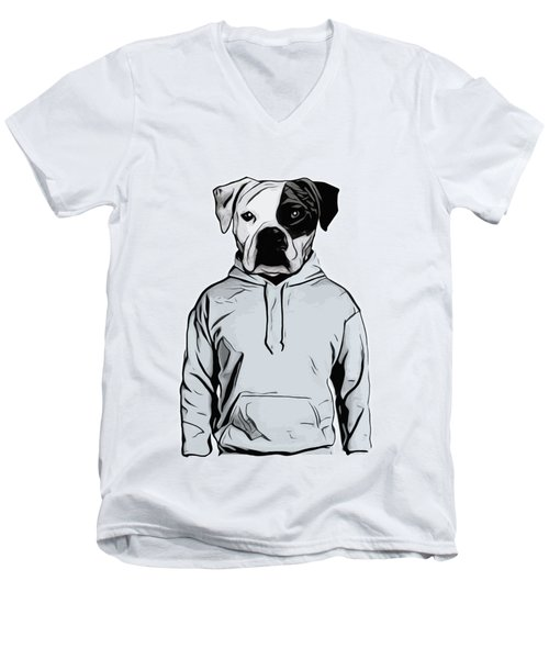Men's V-Neck T-Shirt featuring the painting Cool Dog by Nicklas Gustafsson