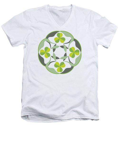 Celtic Inspired Shamrock Graphic Men's V-Neck T-Shirt by MM Anderson