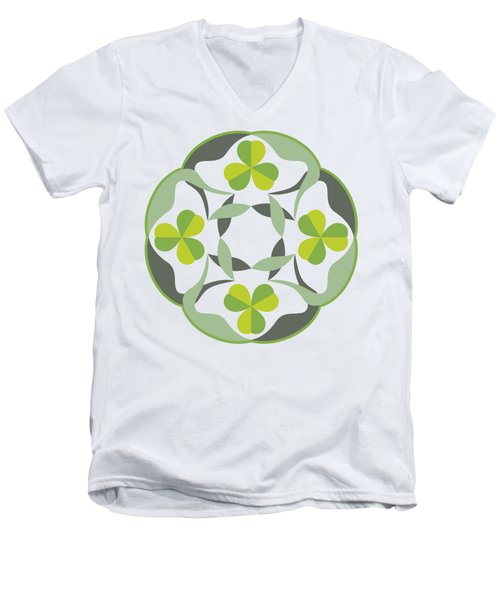 Celtic Inspired Shamrock Graphic Men's V-Neck T-Shirt