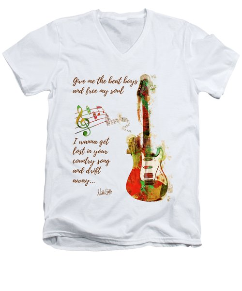 Men's V-Neck T-Shirt featuring the digital art Drift Away Country by Nikki Marie Smith