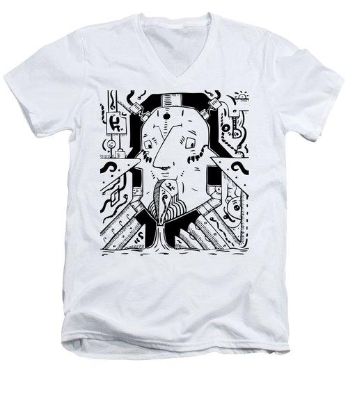 Surrealism Oil Pump Men's V-Neck T-Shirt