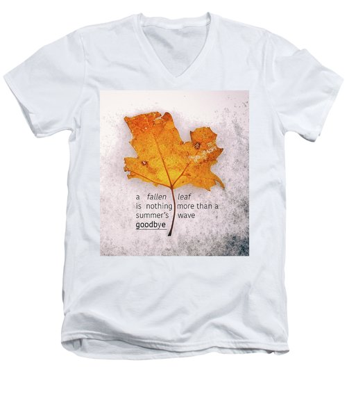 Fallen Leaf On Dirty Ice With Quote Men's V-Neck T-Shirt