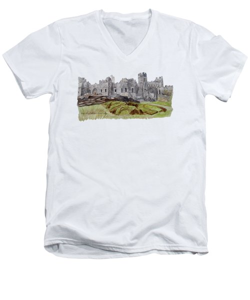 Castle Ward Men's V-Neck T-Shirt by Angeles M Pomata