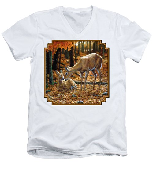 Whitetail Deer - Autumn Innocence 2 Men's V-Neck T-Shirt by Crista Forest