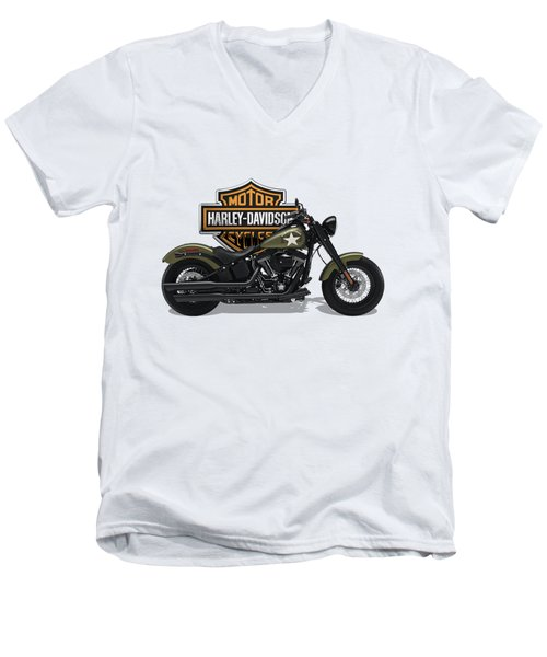 Men's V-Neck T-Shirt featuring the digital art 2017 Harley-davidson Softail Slim S Motorcycle With 3d Badge Over Vintage Background  by Serge Averbukh