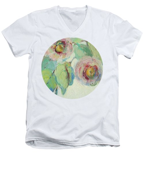 Men's V-Neck T-Shirt featuring the painting Impressionist Roses  by Mary Wolf
