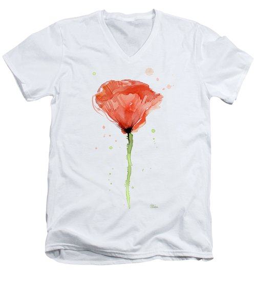Abstract Red Poppy Watercolor Men's V-Neck T-Shirt