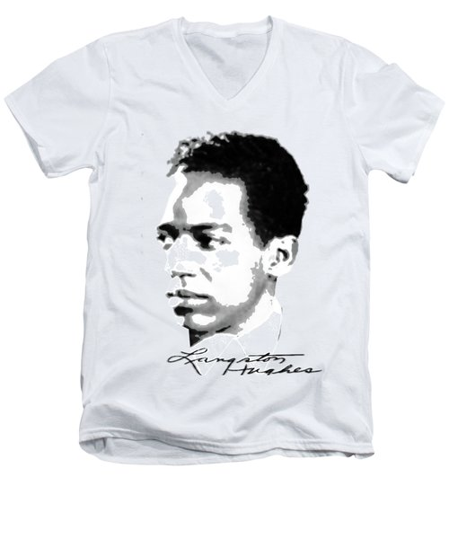 Langston Hughes Men's V-Neck T-Shirt by Asok Mukhopadhyay