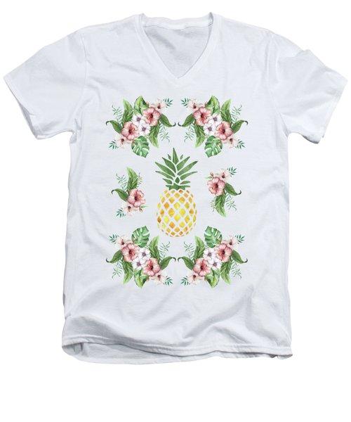 Exotic Hawaiian Flowers And Pineapple Men's V-Neck T-Shirt