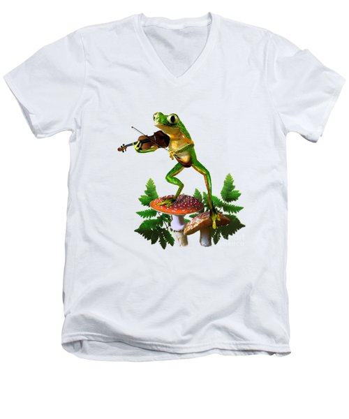 Humorous Tree Frog Playing A Fiddle Men's V-Neck T-Shirt by Regina Femrite