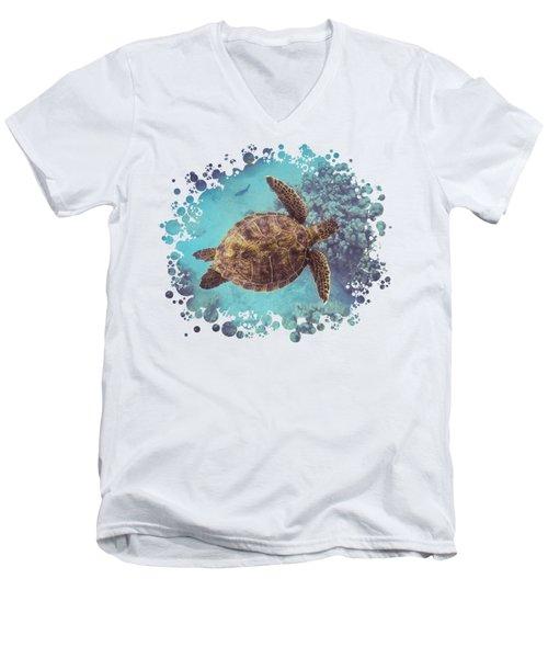Swimming Honu From Above Men's V-Neck T-Shirt