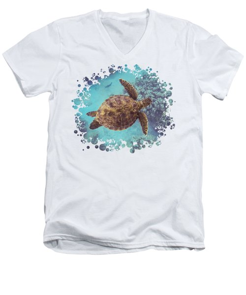 Swimming Honu From Above Men's V-Neck T-Shirt