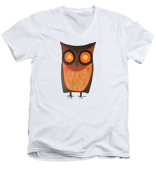 Give A Hoot Orange Owl Men's V-Neck T-Shirt