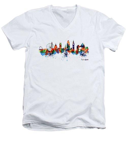 London Watercolor Skyline Silhouette Men's V-Neck T-Shirt