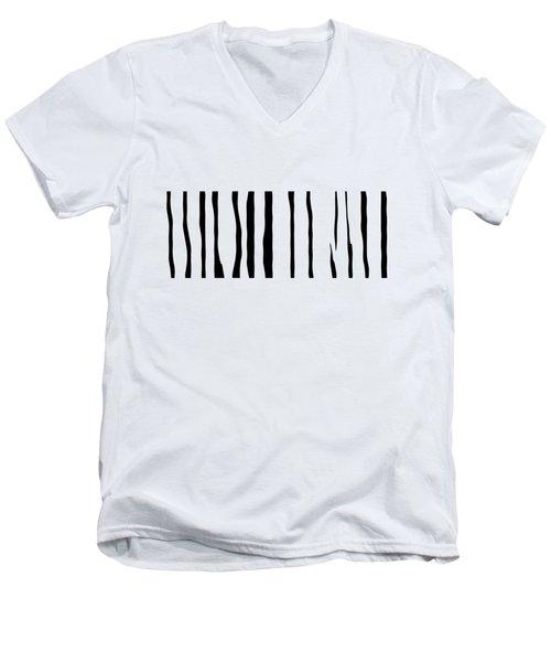 Organic No 12 Black And White Line Abstract Men's V-Neck T-Shirt