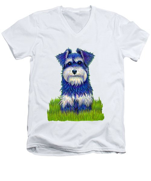 Colorful Miniature Schnauzer Dog Men's V-Neck T-Shirt