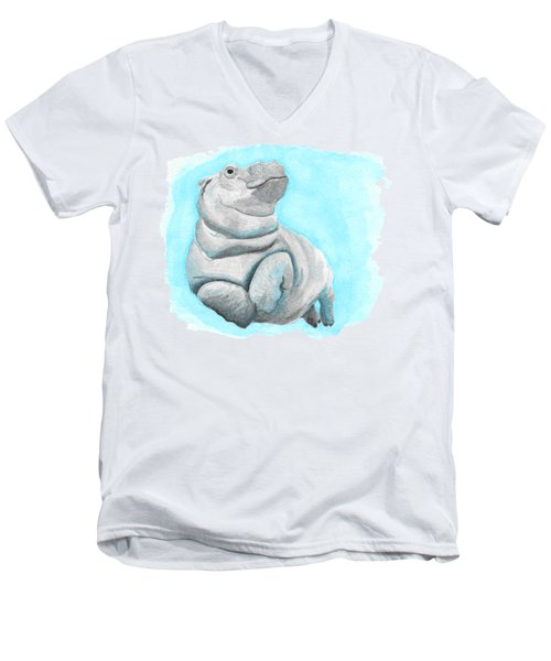 Baby Hippo Underwater Fantasia Ballet Men's V-Neck T-Shirt