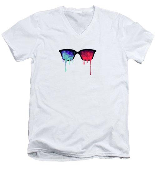 3d Psychedelic / Goa Meditation Glasses Men's V-Neck T-Shirt