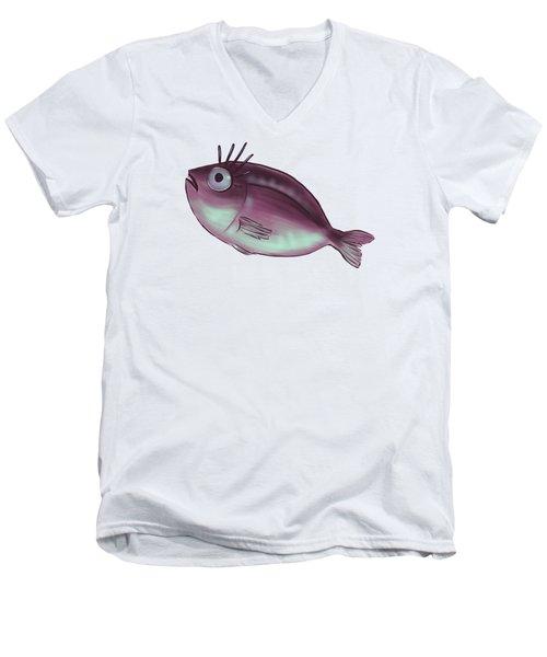 Funny Fish With Fancy Eyelashes Men's V-Neck T-Shirt