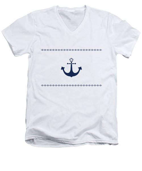 Anchor With Knot Border In Blue Men's V-Neck T-Shirt