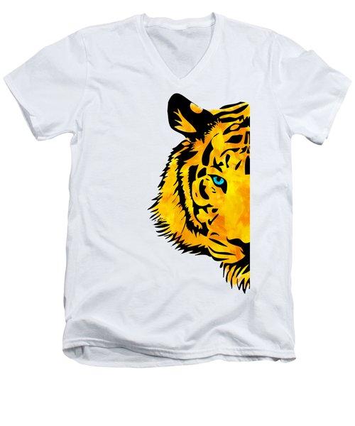 Half Tiger Digital Painting Men's V-Neck T-Shirt