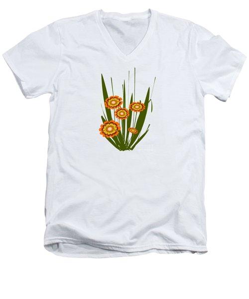 Orange Flowers Men's V-Neck T-Shirt by Anastasiya Malakhova