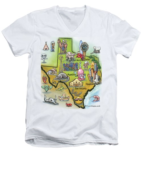 Texas Cartoon Map Men's V-Neck T-Shirt by Kevin Middleton