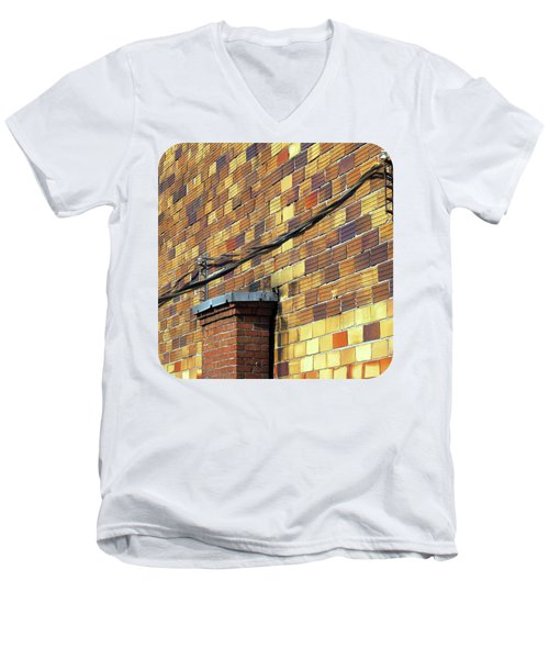 Men's V-Neck T-Shirt featuring the photograph Bricks And Wires by Ethna Gillespie