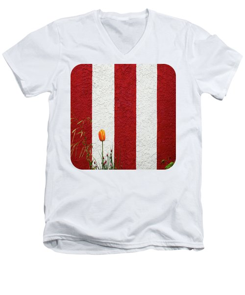 Men's V-Neck T-Shirt featuring the photograph Temple Wall by Ethna Gillespie
