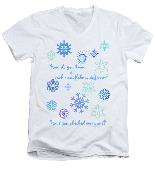 Snowflakes Men's V-Neck T-Shirt by Methune Hively