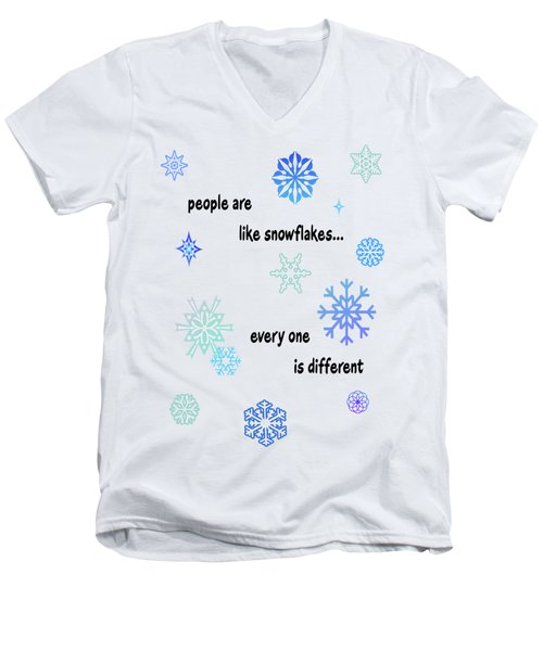 Snowflakes 3 Men's V-Neck T-Shirt by Methune Hively